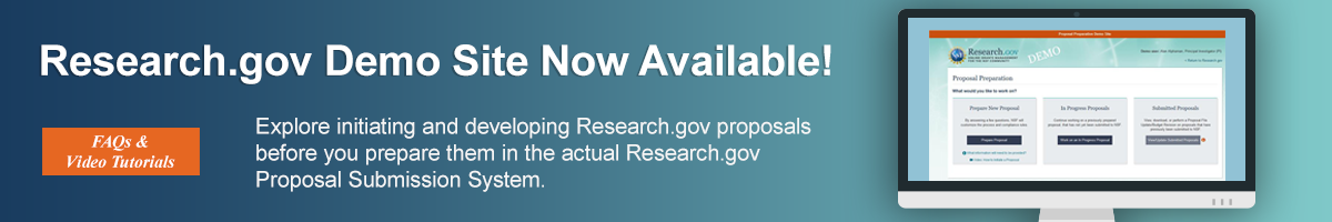 The Research.gov demo site, where you can explore preparing proposals, is now available.  Navigate to the FAQs and video tutorials section to find a link to the demo site.