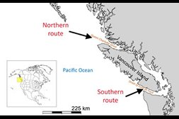 Map showing Vancouver and Pacific ocean and arrows indicating southern and northern route of salmon.