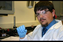 Photo of student Keith Berry in the chemistry lab.