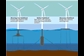Illustration of floating wind turbines
