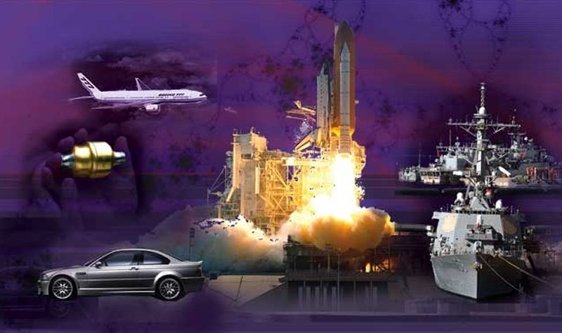 photo montage including rocket take-off, jet aircraft, ship and sedan automobile.