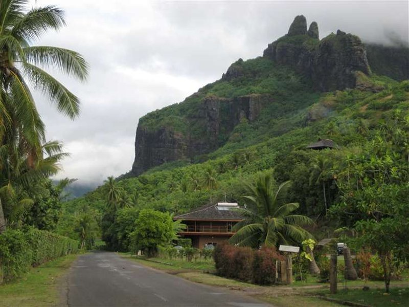 Scenic shot of curving road, tropical vegetation and cliff shrouded in mist