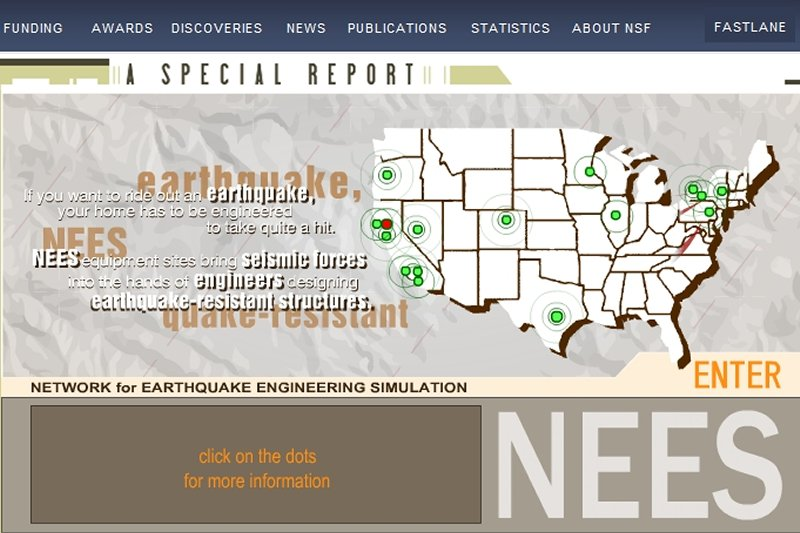 screenshot of NEES special report, map with NEES sites