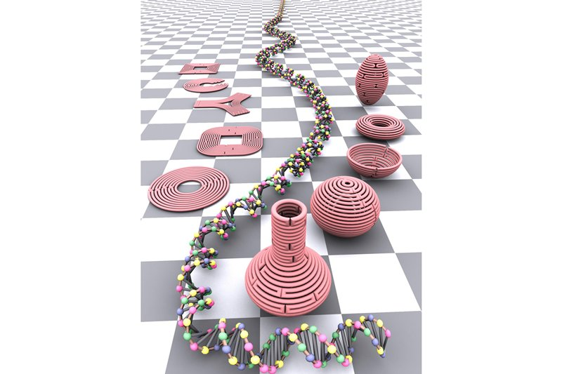 simulated colorful DNA double helix, pink nanobottles on checkered surface
