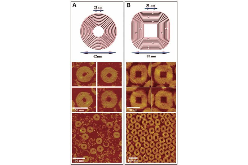 Schematics of concentric circles, squares & nanoscale structures