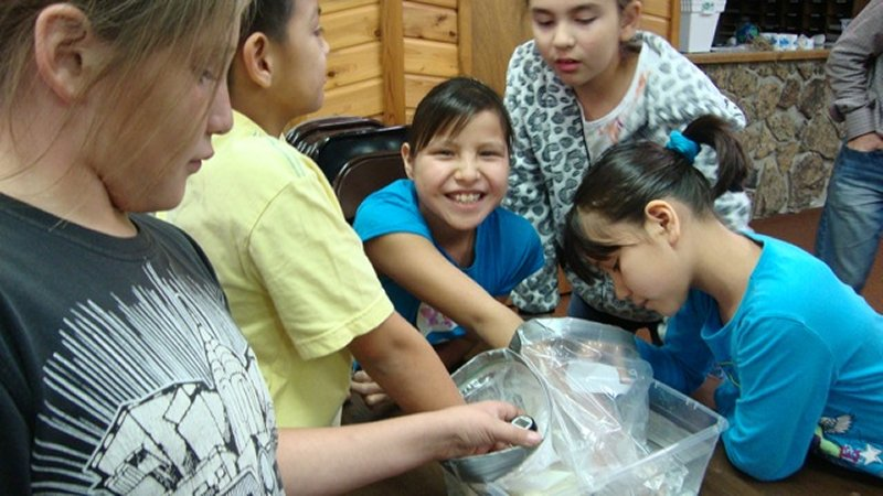 photo of five students, three with hands inside plastic bags in plastic tub; they are investigating temperature changes