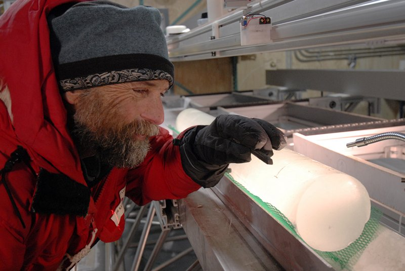 a researcher with one of the ice cores