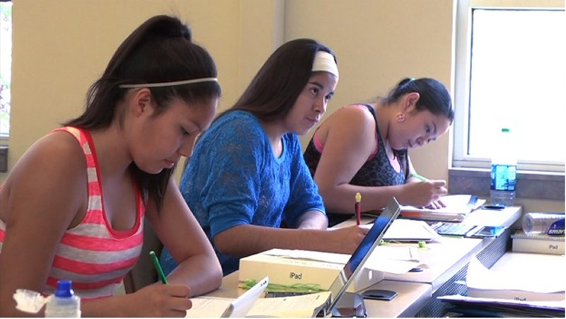 native american high-school students attend an accelerated math program